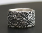 lace ring no 11 - delicate lace texture silver ring - made to order in your size