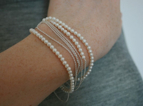 extra long, very delicate sterling silver and freshwater pearls necklace
