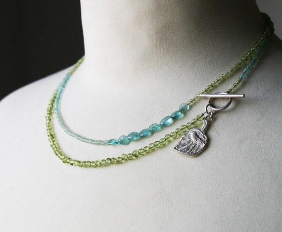 LONG delicate sterling silver and gemstone beads in GREEN and AQUA tones