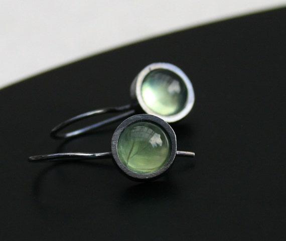 Prehnite earrings  - Luminous light green prehnite, set in sterling silver