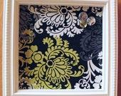 Designer Memo Magnetic Bulletin Board , Framed with VB Designer Fabric, Handcrafted Wood Frame