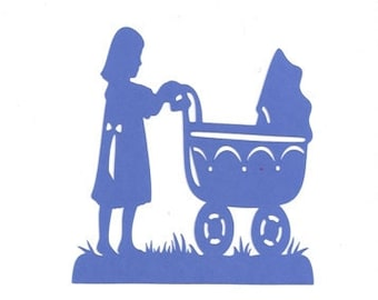 Little girl pushing a baby carriage  silhouette