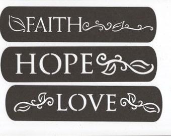 Faith, hope and love blocks set of three