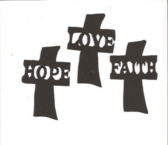 Faith, hope and love  silhouettes set of three one color