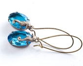CLEARANCE - Vintage Nature Inspired Sea Ocean Aqua Blue Jewels with Antiqued Brass. Earrings for Her