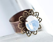 CLEARANCE - Swarovski Opal and Brass Vintage Style Adjustable Ring