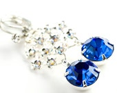 CLEARANCE - Glamorous Blue Sapphire Glass Vintage Glass Rhinestone and Silver Old Hollywood Dangle Earrings . Gift for Her