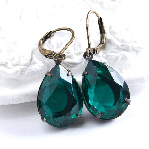 Estate Style Earrings, Emerald Green