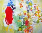 Whimsy- 12x9- Mixed Media, Bold, Vibrant, India Ink, Acrylic Paint