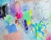 Tart- Mixed Media Original- 9x12- Bright, Colorful, Abstract