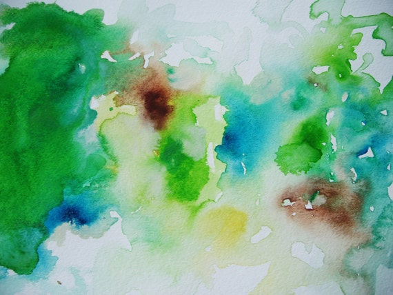 Tuileries- Original Watercolor Painting- 15x11, Fresh, Abstract, Beautiful