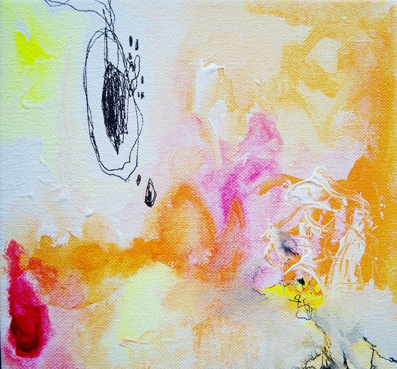 Aloha- Mixed Media Original- 8x8 Canvas, Bright, Bold, Abstraction