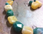 Yellow and Teal Stone Rough Nugget Necklace and Earring Set Russian Amazonite and Yellow Calcite, Rock Steady