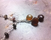 Tourmaline and Chalcedony Briolette Necklace Watermelon and Cognac