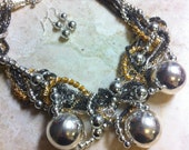 HUGE Chunky Mixed Metal Messy Chain Statement Bib Necklace and Earring Set, Born This Way