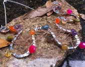 Squiggle Wire Fall Colorful Briolette Copper Silver Bib Statement Necklace, Falling for You