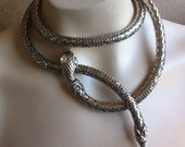 RESERVED FOR EWA Vintage Snake Necklace Belt Bracelet Whiting and Davis Silver Sexy Versatile Jewelry