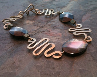CLEARANCE Abalone Squiggle Hammered Bracelet