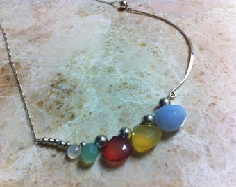 Asymmetrical Briolette Multicolor Pastel Gemstone Anthropologie Beaded Necklace