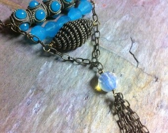 Ethnic Inspired Turquoise and Brass Tassle Y Necklace Opalite, Temple in India