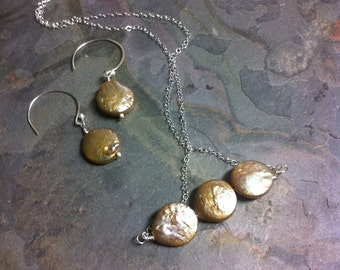 Golden Coin Pearl and Sterling Silver Necklace and Earring Set, Breathe