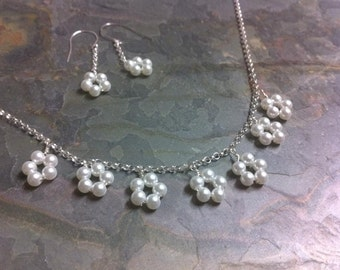 Dainty Sterling Silver White Pearl Stephanotis Daisy Wedding Necklace and earring set, Promise of Love