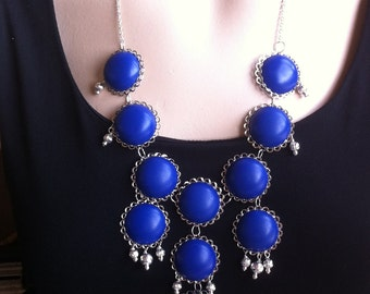 Huge Bright Blue Bubble Statement Necklace with Silver Accents, Bubbles of the Sea