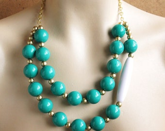 Large Teal Double Strand Asymmetrical Bib Statement Necklace High Fashion Teal and White and Gold, Teal Appeal