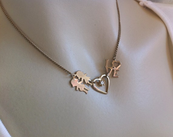 vintage charm choker necklace boyfriend and girlfriend heart. Black Bedroom Furniture Sets. Home Design Ideas