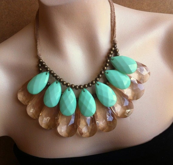 DOUBLE COLOR Champagne and Mint Adjustable Double Strand Briolette Bib Necklace, Tandem Tantieme, Mint Sparkle