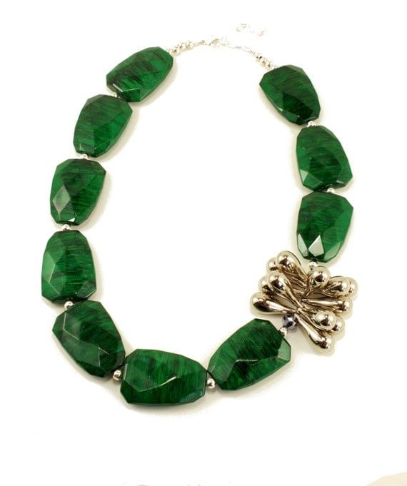 Large Chunky Bold Emerald Green Asymmetrical Beaded Statement Necklace, Emerald Pop