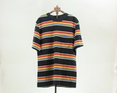 Mens 70s 80s Striped Shirt S