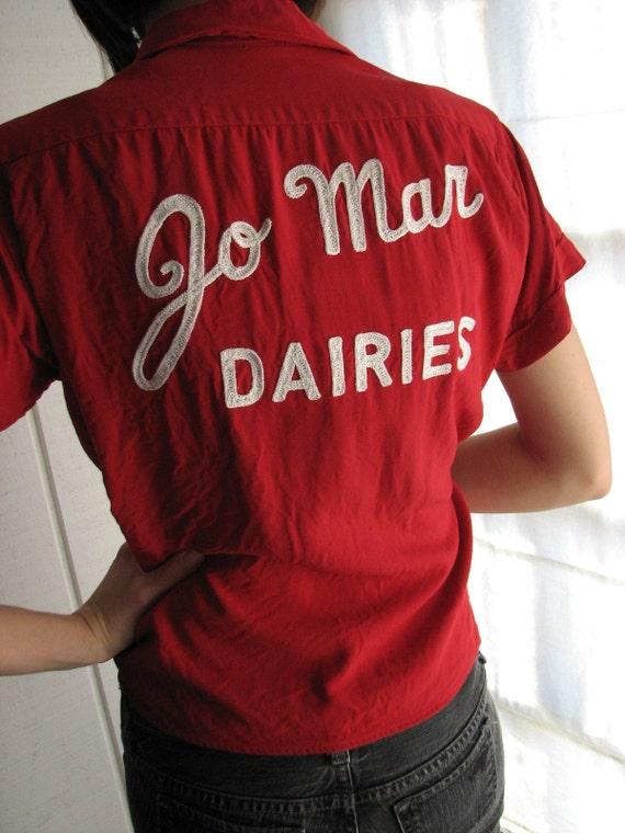 On Sale Vintage 50's Milk Man or Lady Kansas Jo Mar Dairies Shirt S - M