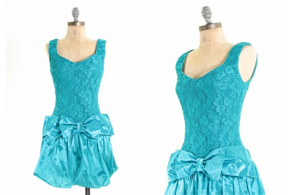 80s Bubble Lace Mini Formal Prom Bow Dress XS