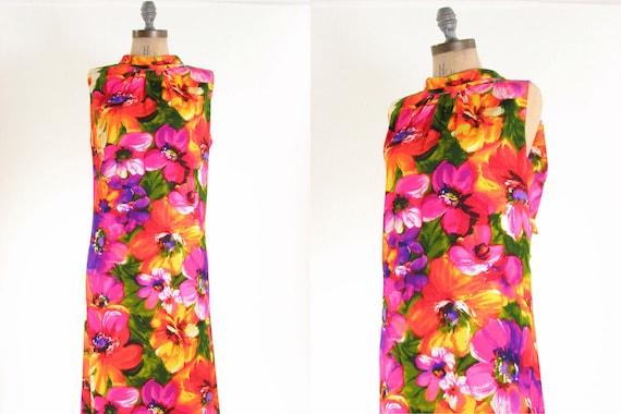 70s Bright Floral Dress L XL