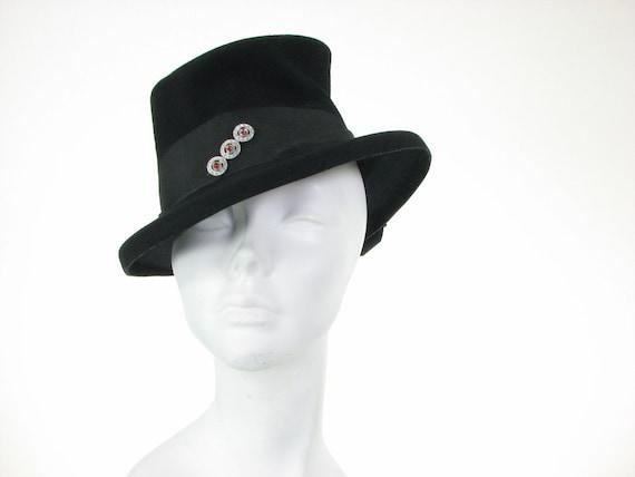 30s Black Tilt Top Hat Gothic Noir