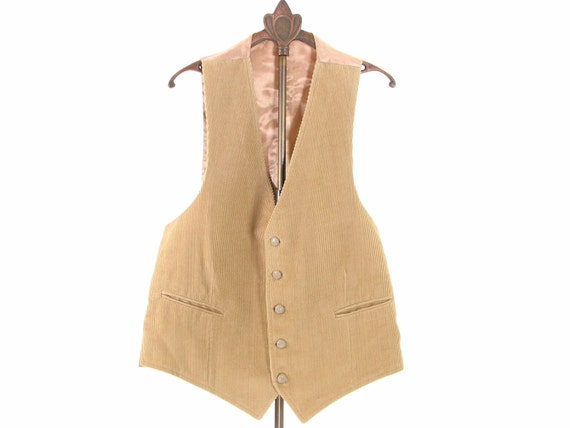 Mens 70s Brown Beige Vest Corduroy Western Small