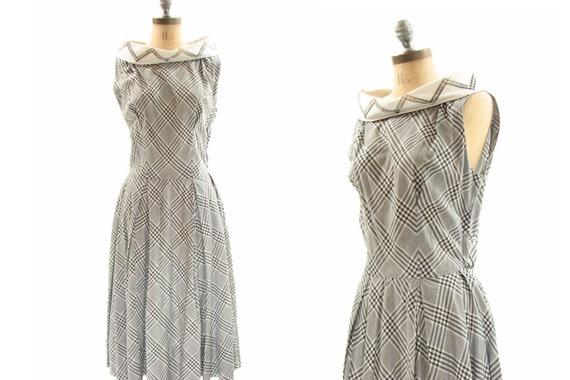 50s Black White Dress . Plaid Rockabilly . Small