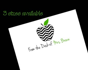 Personalized Teacher Chevron Apple Notepad ~ Teacher Gift ~ 3 Sizes