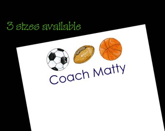 Personalized Sport Ball Notepads - Coach Gift ~ 3 sizes
