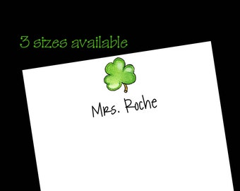 Personalized Shamrock Notepads ~ Clover Stationery ~ 3 sizes