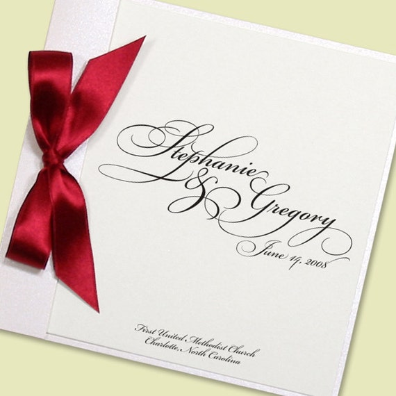Items Similar To Wedding Programs Elegant Square Booklet Design