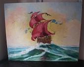 Stormy Seas Vintage painting