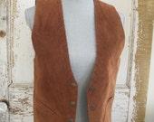 Vintage suede leather vest