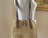 Vintage Seagrass and Leather Purse