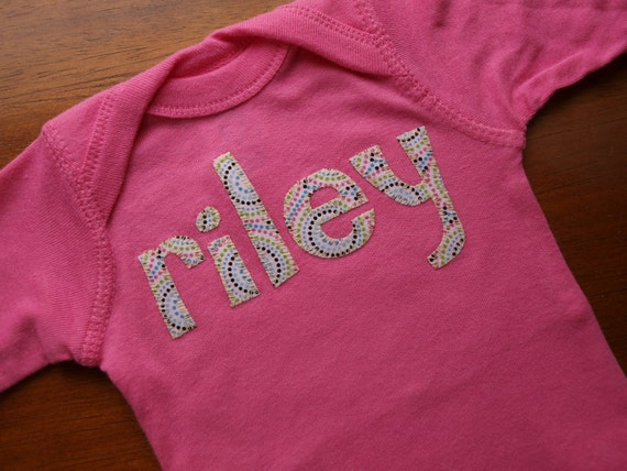 Long Sleeved Personalized Girl Onesie Custom made with your child's name 1-6 LETTERS in the name