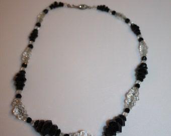FINAL SALE Those Deco Nights - 1930s Black & Clear Cut Glass Geometric Necklace