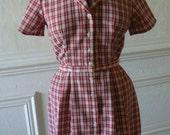 vintage PRECIOUS PICNIC red plaid dress