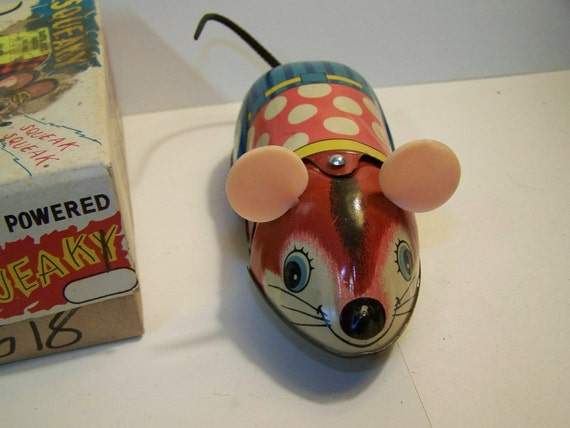 Vintage friction Japanese mouse toy, friction toy, kanto toys