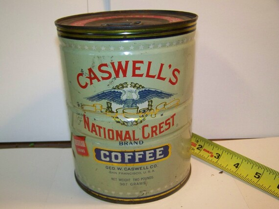 Vintage Caswell Coffee tin Caswell's coffee San Francisco keywind coffee tin unopened